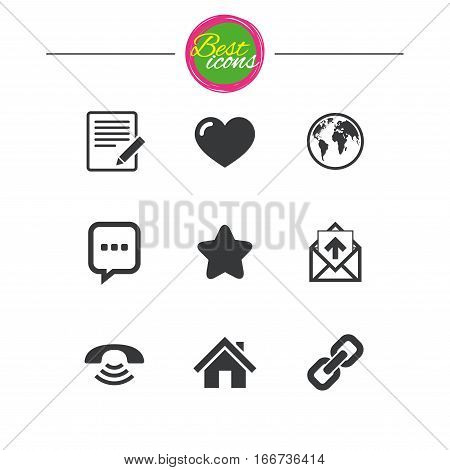 Mail, contact icons. Favorite, like and internet signs. E-mail, chat message and phone call symbols. Classic simple flat icons. Vector