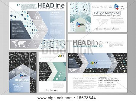 Social media posts set. Business templates. Easy editable abstract flat design template, vector layouts in popular formats. Abstract soft color dots with illusion of depth and perspective, dotted technology background. Multicolored particles, modern patte