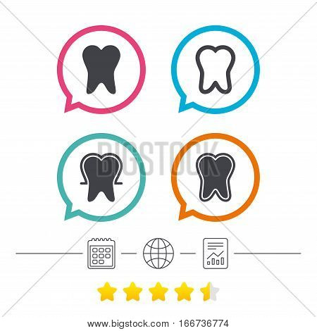 Tooth enamel protection icons. Dental care signs. Healthy teeth symbols. Calendar, internet globe and report linear icons. Star vote ranking. Vector