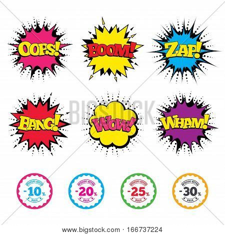 Comic Wow, Oops, Boom and Wham sound effects. Sale discount icons. Special offer stamp price signs. 10, 20, 25 and 30 percent off reduction symbols. Zap speech bubbles in pop art. Vector