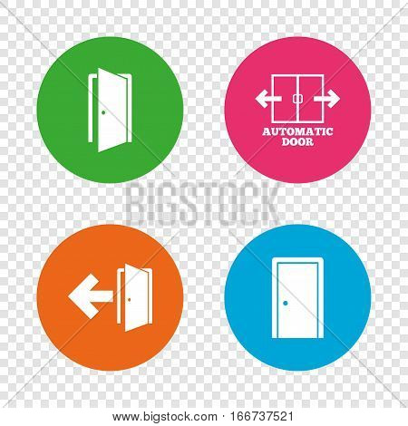 Automatic door icon. Emergency exit with arrow symbols. Fire exit signs. Round buttons on transparent background. Vector
