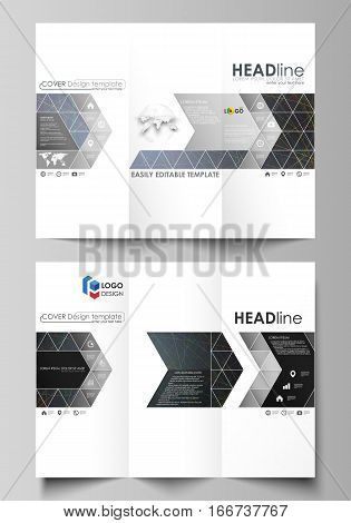Tri-fold brochure business templates on both sides. Easy editable abstract vector layout in flat design. Colorful dark background with abstract lines. Bright color chaotic, random, messy curves. Colourful vector decoration.