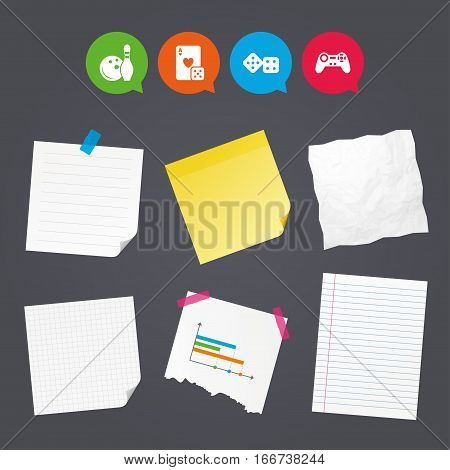 Business paper banners with notes. Bowling and Casino icons. Video game joystick and playing card with dice symbols. Entertainment signs. Sticky colorful tape. Speech bubbles with icons. Vector