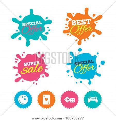 Best offer and sale splash banners. Bowling and Casino icons. Video game joystick and playing card with dice symbols. Entertainment signs. Web shopping labels. Vector