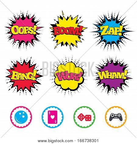 Comic Wow, Oops, Boom and Wham sound effects. Bowling and Casino icons. Video game joystick and playing card with dice symbols. Entertainment signs. Zap speech bubbles in pop art. Vector