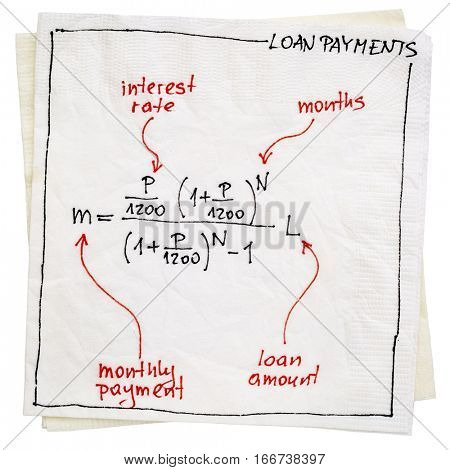 loan payment equation sketched on a napkin isolated with a clipping path
