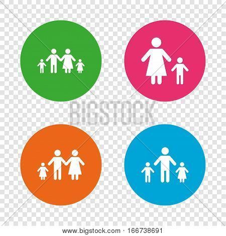 Family with two children icon. Parents and kids symbols. One-parent family signs. Mother and father divorce. Round buttons on transparent background. Vector
