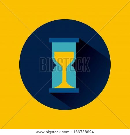 sandclock icon over blue circle and yellow background. colorful design. vector illustration