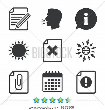File attention icons. Document delete and pencil edit symbols. Paper clip attach sign. Information, go to web and calendar icons. Sun and loud speak symbol. Vector