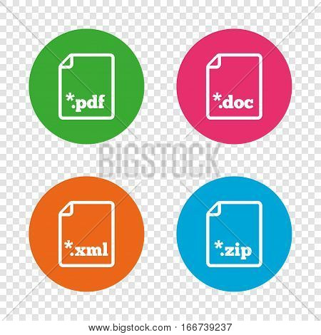 Download document icons. File extensions symbols. PDF, ZIP zipped, XML and DOC signs. Round buttons on transparent background. Vector