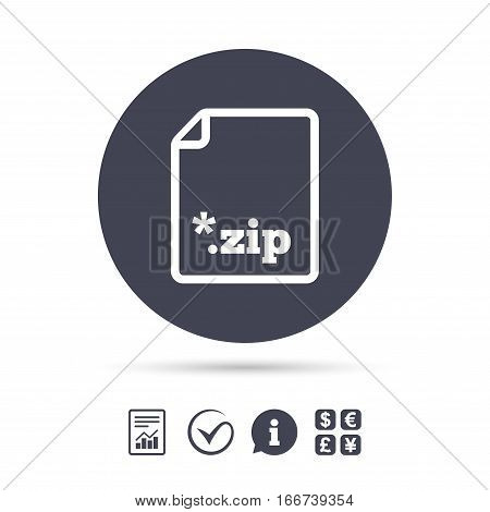 Archive file icon. Download compressed file button. ZIP zipped file extension symbol. Report document, information and check tick icons. Currency exchange. Vector