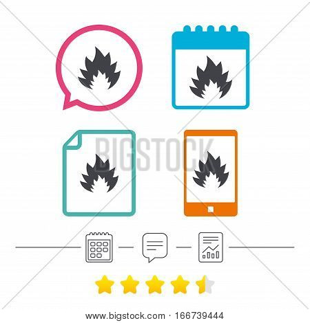 Fire flame sign icon. Heat symbol. Stop fire. Escape from fire. Calendar, chat speech bubble and report linear icons. Star vote ranking. Vector