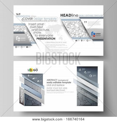 Business templates in HD format for presentation slides. Easy editable abstract vector layouts in flat design. Chemistry pattern, molecular texture, polygonal molecule structure, cell. Medicine, science, microbiology concept.