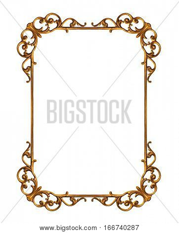 Golden frame isolated on white background -Clipping Path