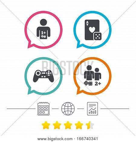 Gamer icons. Board games players signs. Video game joystick symbol. Casino playing card. Calendar, internet globe and report linear icons. Star vote ranking. Vector