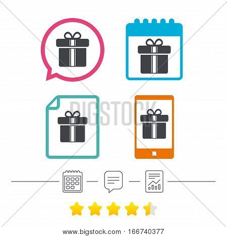 Gift box sign icon. Present with ribbons symbol. Calendar, chat speech bubble and report linear icons. Star vote ranking. Vector