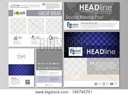 Social media posts set. Business templates. Easy editable abstract flat design template, vector layouts in popular formats. Shiny fabric, rippled texture, white and blue color silk, colorful vintage style background.