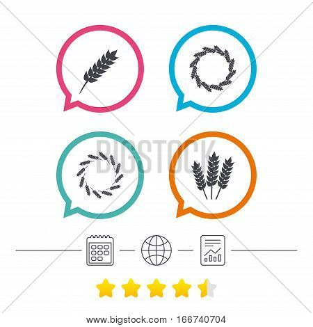 Agricultural icons. Gluten free or No gluten signs. Wreath of Wheat corn symbol. Calendar, internet globe and report linear icons. Star vote ranking. Vector