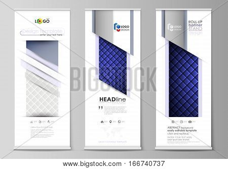 Set of roll up banner stands, flat design templates, abstract geometric style, modern business concept, corporate vertical vector flyers, flag layouts. Shiny fabric, rippled texture, white and blue color silk, colorful vintage style background.