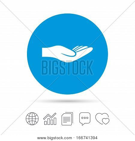Donation hand sign icon. Charity or endowment symbol. Human helping hand palm. Copy files, chat speech bubble and chart web icons. Vector
