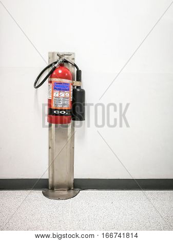 The carbon dioxide fire extinguisher tank in the factory.