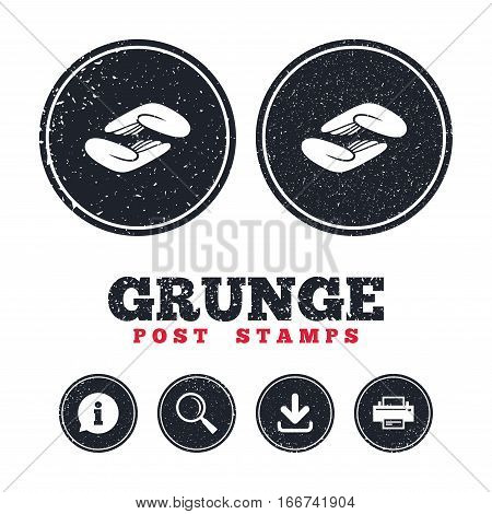 Grunge post stamps. Helping hands sign icon. Charity or endowment symbol. Human palm. Information, download and printer signs. Aged texture web buttons. Vector