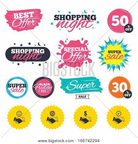 Sale shopping banners. Special offer splash. Handshake icons. World, Smile happy face and house building symbol. Dollar cash money. Amicable agreement. Web badges and stickers. Best offer. Vector