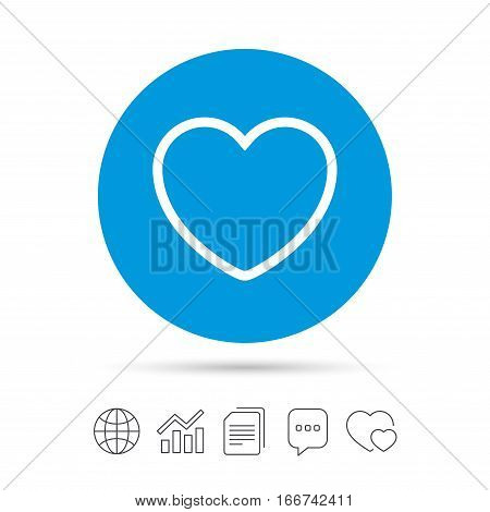 Heart sign icon. Love symbol. Copy files, chat speech bubble and chart web icons. Vector