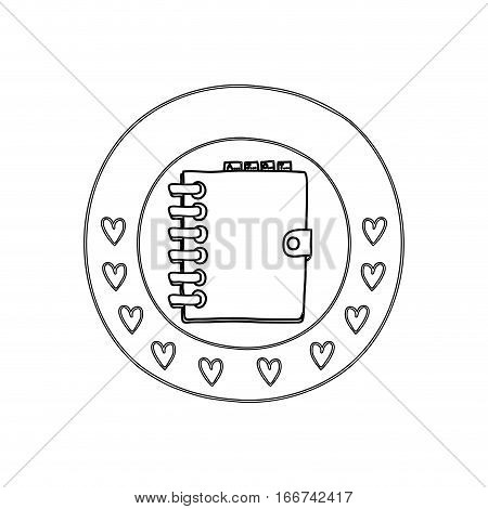 silhouette circular border with hearts and daily notebook vector illustration