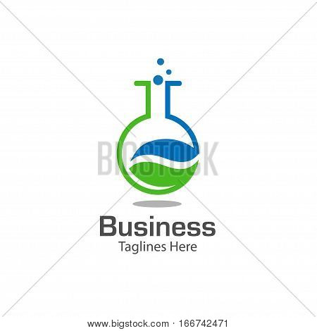 lab logo with leaf symbol , colored test tube with fresh green leaf , bio lab logo vector