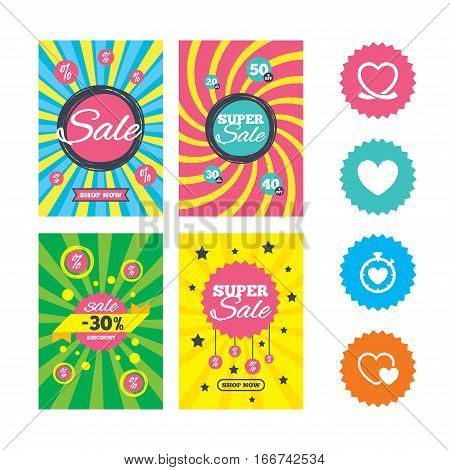 Web banners and sale posters. Heart ribbon icon. Timer stopwatch symbol. Love and Heartbeat palpitation signs. Special offer and discount tags. Vector
