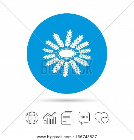 Agricultural sign icon. Wreath of Wheat corn. Gluten free or No gluten symbol. Copy files, chat speech bubble and chart web icons. Vector