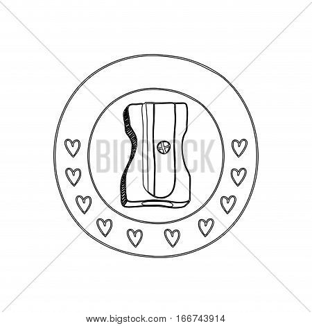silhouette circular border with hearts and pencil sharpener vector illustration