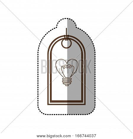 sticker price tag with light bulb in heart shape . Vector illustration