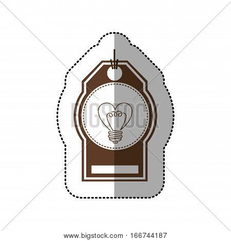 sticker price tag with sticker circular of light bulb in heart shape vector illustration