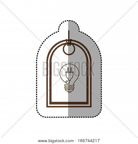sticker price tag of light bulb with connect shape vector illustration