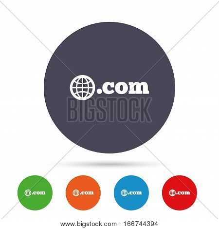 Domain COM sign icon. Top-level internet domain symbol with globe. Round colourful buttons with flat icons. Vector