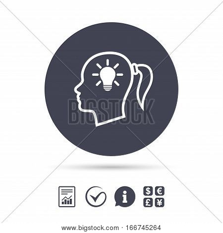 Head with lamp bulb sign icon. Female woman human head idea with pigtail symbol. Report document, information and check tick icons. Currency exchange. Vector
