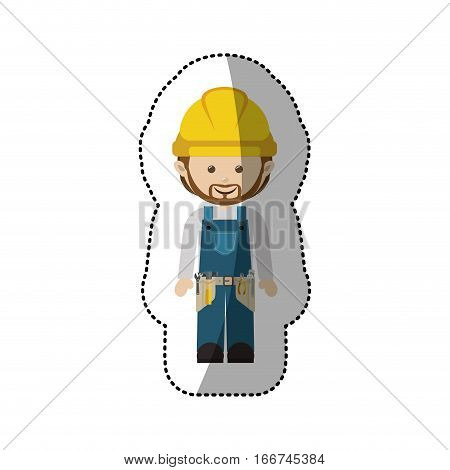 sticker avatar worker with toolkit and beard vector illustration. Vector illustration