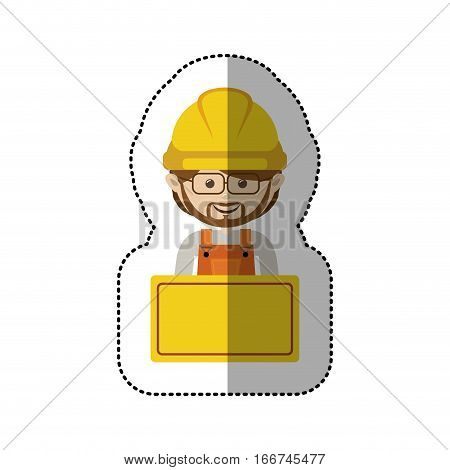 sticker half body avatar worker with toolkit and glasses . Vector illustration . Vector illustration