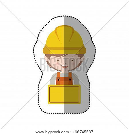 sticker half body avatar worker with toolkit and plaque vector illustration