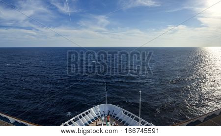 fisheye view of the caribbean from bow of ocean liner