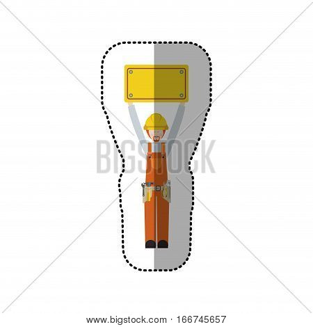 sticker worker with toolkit and plaque up with blond hair vector illustration