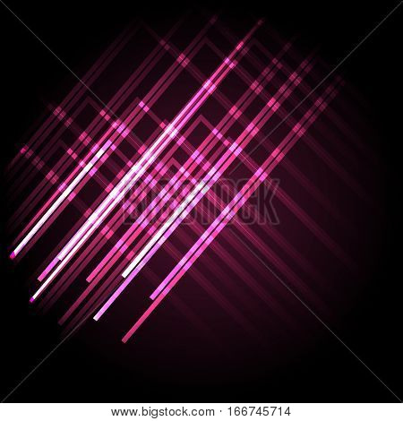 Abstract neon pink background with lines, stock vector