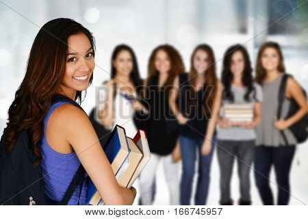 Young college students who are going to class