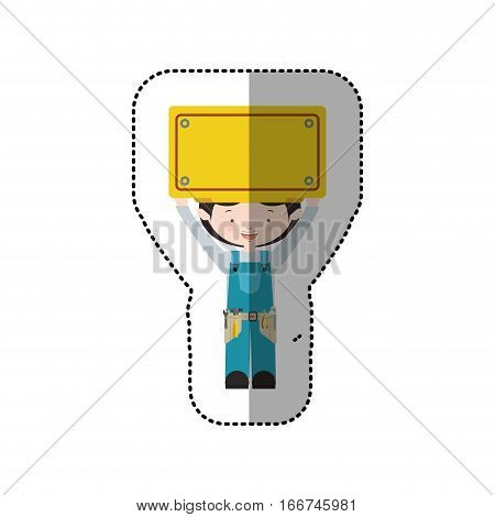 sticker avatar worker black hair with toolkit and plaque up vector illustration