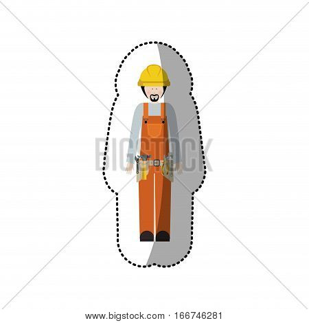 sticker man worker with toolkit and beard vector illustration