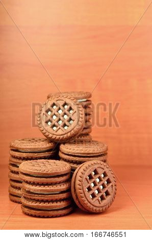 Sandwich Round Biscuits With Vanilla Filling