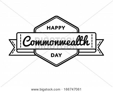 Happy Commonwealth day emblem isolated vector illustration on white background. 13 march world holiday event label, greeting card decoration graphic element