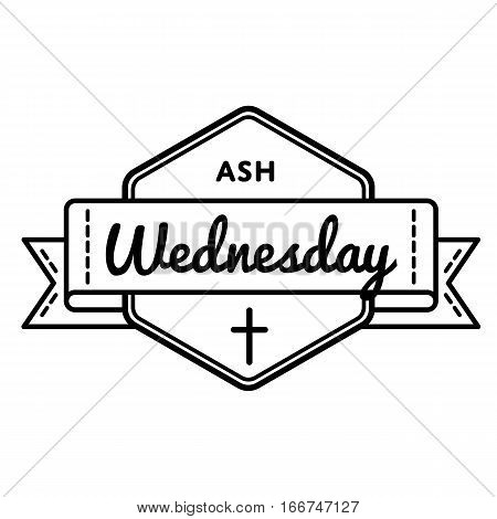 Ash wednesday emblem isolated vector illustration on white background. 1 march world catholic holiday event label, greeting card decoration graphic element